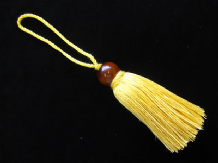 Yellow cotton key cushion tassel with wooden ball trim Curtain blind trimming